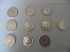 France – 5  Francs 1963 (lot of 10 coins) – Silver.