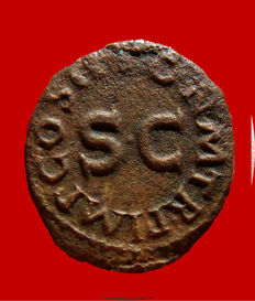 Roman Empire - Claudius I (41 - 54 A.D.) bronze quadrans (2,71 g. 18 mm.) - 42 A.D. - Rome. Modius / S.C.
