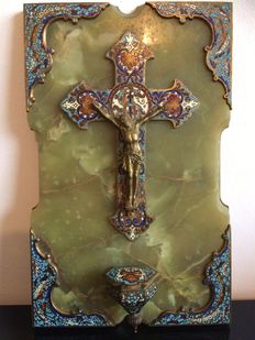 A bronze champlevé crucifix and holy water stoop mounted on an onyx plaque - France - late 19th century