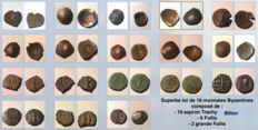 Byzanthium - lot of 18 Byzantine coins (folles, aspron trachy)
