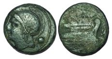 Roman Republic - Semilibral standard - AE Uncia (23 mm; 11,34 g) - Rome mint, ca. 225-217 BC - Head Roma / Prow of Galley - Cr. 38/6