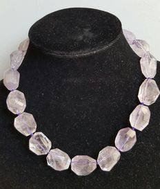 . Faceted amethyst necklace with silver clasp