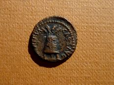 Roman Empire - Nerva (96-98 A.D.) bronze quadrans (2,10 g. 15 mm), Rome mint, 96 A.D. Modius / winged caduceus.
