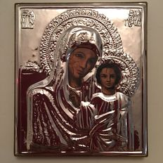 A marked 925 silver icon of Mary and Child, with display stand - Russia, 20th century