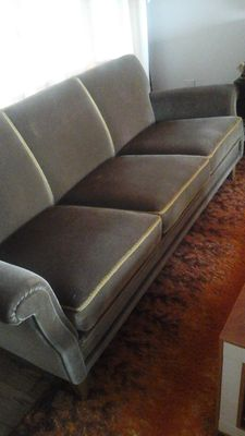 Designer unknown - vintage sofa and armchair in Hollywood Regency style.