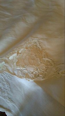 Pure linen bed sheet with embroidery insert - 1930, Italy