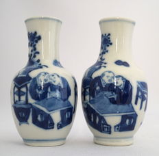 Vases with decoration of students and teacher - China - 19th century