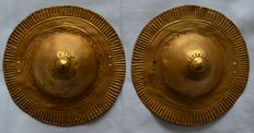 Pre Colombian Brest plates - Tumbaga Gold - 105 x 105 x 40 mms