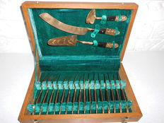 Exclusive yellow copper cake set from Siam (engraved) for 12 people, in wooden case!