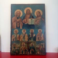 Old large handmade large Deesis icon with Saints - 20th century.