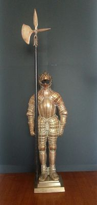 Knight, Fireplace set, Brass