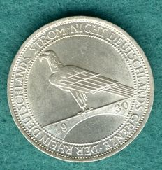 Weimar Republic - 3 Reichsmark 1930 J for the clearing for the Rhineland - silver