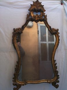 Venetian mirror in carved gilded wood with mercury mirror - Italy - 19th century