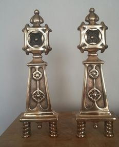 Andirons, Brass, Poppy Motive, set of two