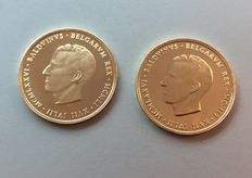 "Belgium - Medal ""Boudewijn 1951-1976"" (2 pieces) - Gold"