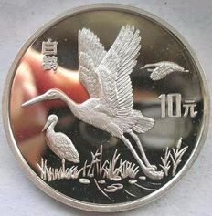 China - 10 Yuan 1992 'White Stork' - zilver