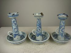 Three porcelain oil lamps - China - 19th century