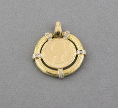 Two-tone white and yellow gold pendant, set with brilliant-cut diamonds.