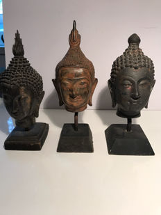 Three Buddha heads – Thailand – Late 20th century