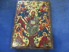 Icon Christ and the Apostles, oil and gold painting on board, Russia - 20th century