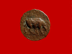 Roman Empire - Domitian (81 - 96 A.D.) bronze quadrans (1,57 g. 15 mm.), Rome mint, 84-85 A.D. S/C / Rhinoceros. Very scarce coin.