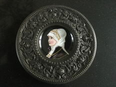 Bronzed metal wall plate with painted porcelain plate - France - ca. 1900