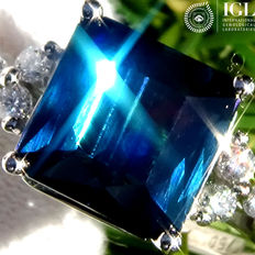 Tourmaline And Diamond Cocktail Ring 3.28 ct Natural Indicolite Blue - Certified - No Reserve