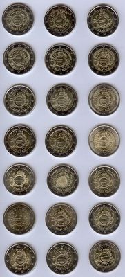 "Europe – 2 Euro coin 2012 ""10 years of the Euro"" from 17 countries (21 pieces) complete."