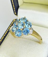 Authentic TGC signed gemtone ring set with 1.4ct sky blue Swiss Topaz & Diamonds