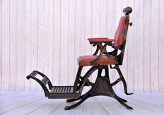 Cast iron barber chair - fully restored - European - 19th century
