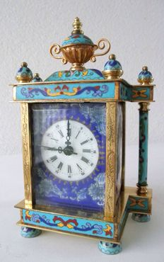 Cloisonné table clock -  enamelled all around
