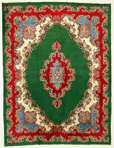 Fine Persian carpet Kirman 3.97 x 3.02 green, hand woven in Iran, high quality new wool, Oriental carpet GREAT CONDITION