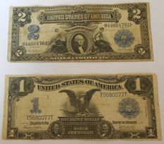 USA - 1 dollar 1899 and 2 dollars 1899 - Pick 338c and 339