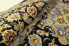 Fine Persian carpet, Kashan 3.53 x 2.53, blue, hand-knotted, high-quality new wool, oriental carpet GREAT CONDITION