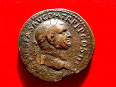 Roman Empire -  Vespasian (69 - 79 A.D.) bronze sestertius  ( 25,96 g. 33 mm.) from Rome mint. ROMA. S/C. Rare