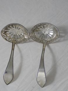 Pair of antique silver sprinkle spoons - P.G. Petersen, Amsterdam 1802