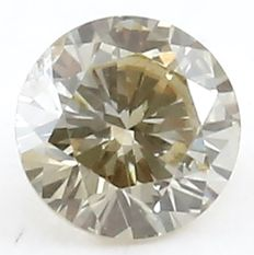 0.16 ct Natural Light Yellow Diamond - Round Brilliant