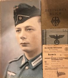 German Reich Collection of 3 Passports:  Labour Front and Military Pass and Passport