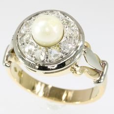 Vintage cluster ring with pearl and diamond, circa 1950