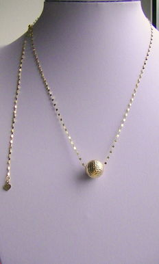 750 gold necklace variable up to 65cm + large diamond coated 585 gold ball slider