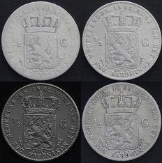 The Netherlands – ½ guilder 1860, 1861, 1862 and 1863 Willem III – silver