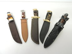 Collection of 5 knives and daggers for decoration