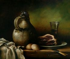 Unknown (20th century)-still life with old jug, meat, eggs, knife and wine glass