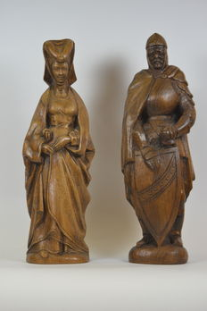 Oak wooden statues of Mary of Burgundy and a Knight -Belgium - first half of 20th century