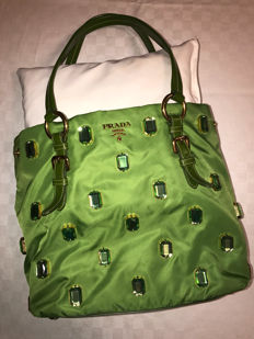 Prada – Canvas shoulder bag with jewel decorations