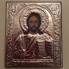 A marked 925 Silver icon of Jesus of Nazareth, with display stand, Russia, 20th century