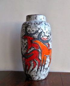 Scheurich – large (51 cm) floor vase decorated with elks in a Lola glaze