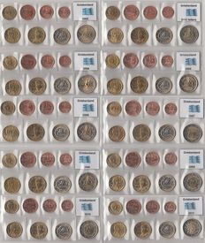 Greece – Year packs Euro coins 2002, 2002 with letters, and 2004 through 2011 complete