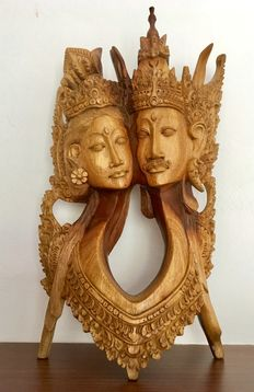 Wooden statue Rama and Sita - Mas/Bali/Indonesia - Second half of the 20th century (30.5 cm)