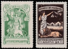 The Netherlands 1916 – Internment stamps – NVPH IN1 + IN2, with certificate